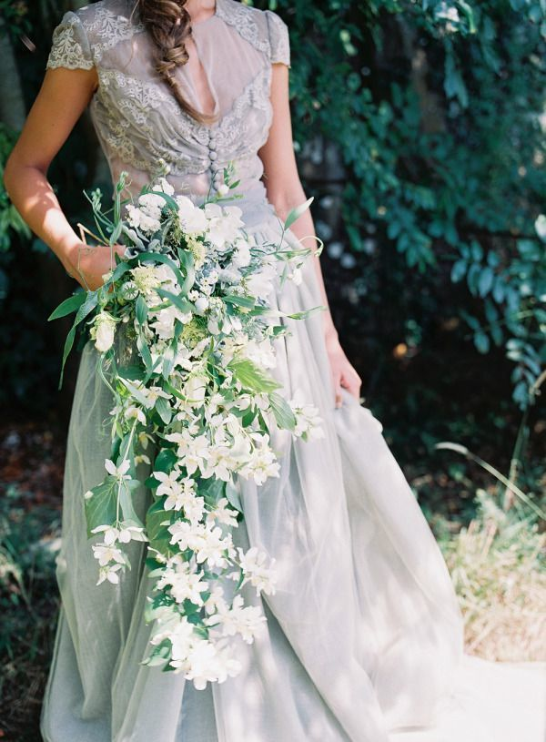 Beautiful organic bouquet -- Using greens that are not stiff makes the bouquet lighter and adds natural movement.