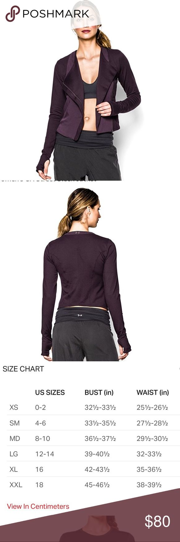 UNDER ARMOUR Large UA Street Sleek Fitted Jacket UNDER ARMOUR Large UA Street Sleek Fitted Jacket Plum   Brand new w/ tags. Light and perfect for gym, workout, exercise, yoga, or fitness classes.   super soft and is in a plum / purple color tone  Light & luxurious w/ signature UA StudioLux sleeves for unparalleled support & comfort Signature Moisture Transport System wicks sweat to keep you dry & light Graduated moto-inspired hem is longer in the front & shorter in the back Asymmetrical…