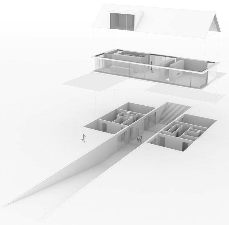 a perpendicular running slope splices the flat terrain and anchors the residence into the landscape, providing both a focus and an access point to the home.