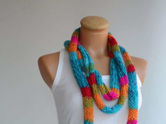 Knitting long scarf colorful scarf lariatnecklace.. by vyldanstyle