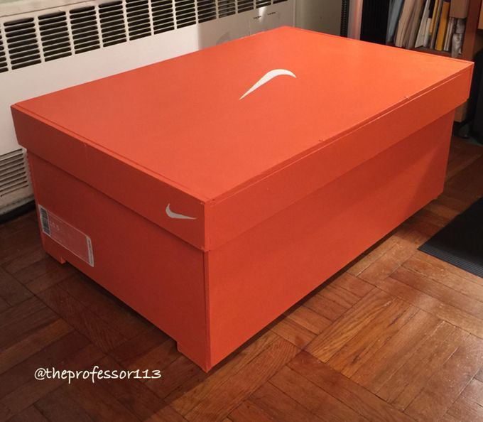 A sneakerhead created this huge Nike shoe box to store his sneaker collection.