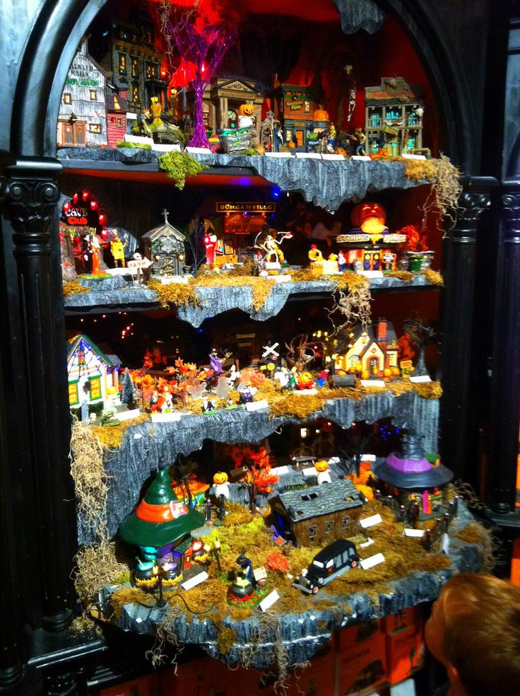 halloween village display department 56 halloween village great display idea for bookcases - Halloween Display Ideas