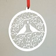 Valentines decor, two turtle doves hanging ornament, white
