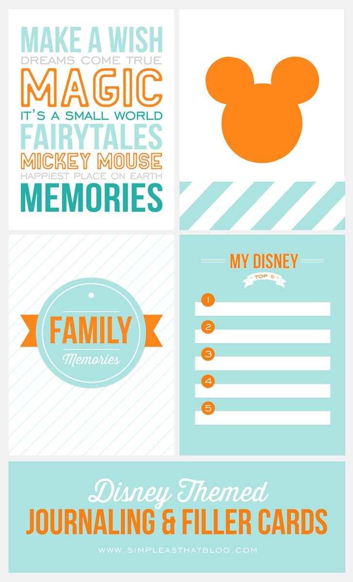 Free Disney Themed Journaling and Filler Cards {Set 1}