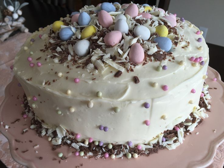 Banana Cake with White Chocolate Buttercream with Easter flare