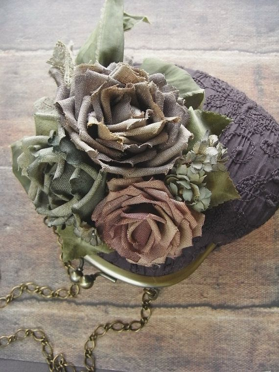 handdyed corsage and purse old linen roses rose and by kikosattic