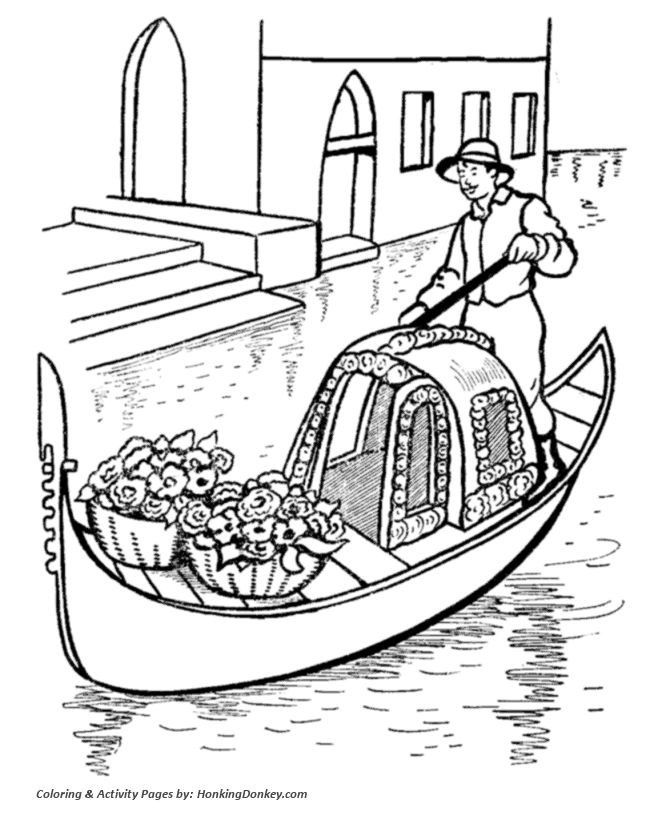 Gondolas In Venice Italy Coloring Page With Images World Map
