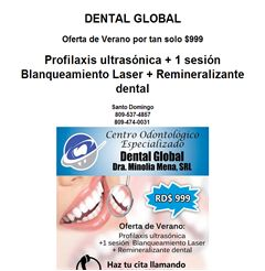 OFERTA Profilaxis Ultrasónica + Blanqueamiento Dental Láser RD$999  - Publicidad