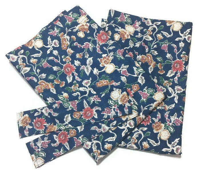 Details About Vtg Ralph Lauren Jardin Blue Floral Curtains Panels