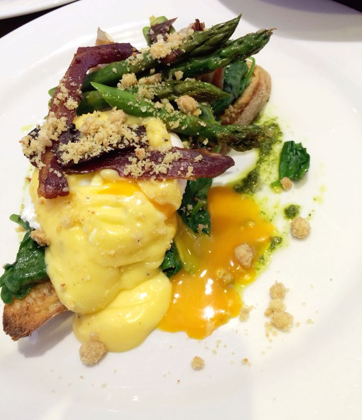 Pancetta wrapped asparagus, spinach, poached eggs, hollandaise and almond crumble at Sayers Sister, Perth.