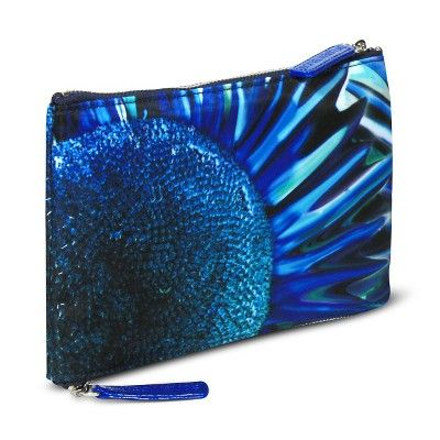 Sonia Kashuk Cosmetic Bag 2-Zip Purse Kit Blue Floral