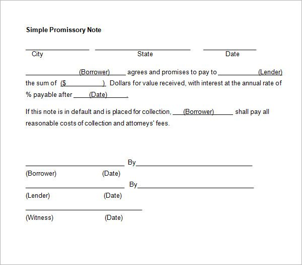 Simple Promissory Note No Interest Promissory Note Notes