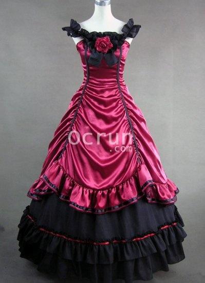 Tief Rot und Schwarz Satin Gothic viktorianischen Kleid