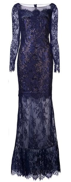 Notte by Marchesa Blue Knit Lace Gown