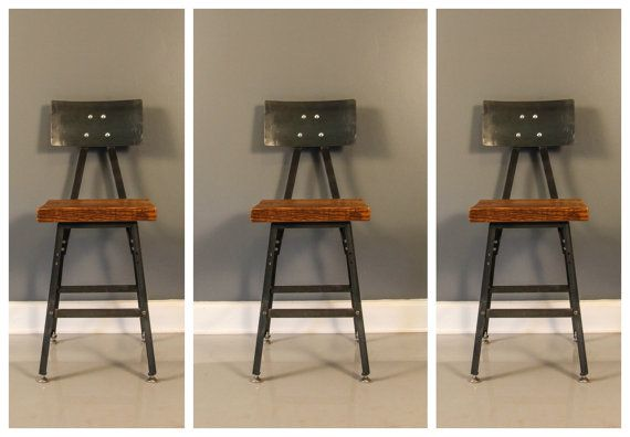 Set of 3 Reclaimed Wood Industrial Bar Stool w/ Steel Back - FREE SHIPPING - Industrial Modern - Salvaged Wood $515 for 3
