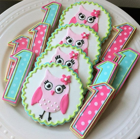 Girly Pink Owl Decorated Cookies and Number Cookies, pink and green party favors