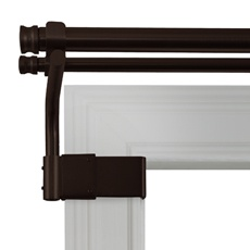 Adjustable Gripper 28-Inch to 48-Inch Double Window Curtain Rod, no holes to drill.