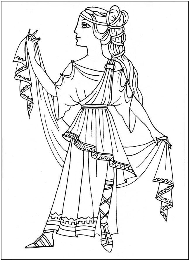 разукрашки Наряды разных времен, так одевались древние ...