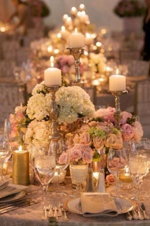 Blush, ivory and gold table arrangement with centerpiece highlights