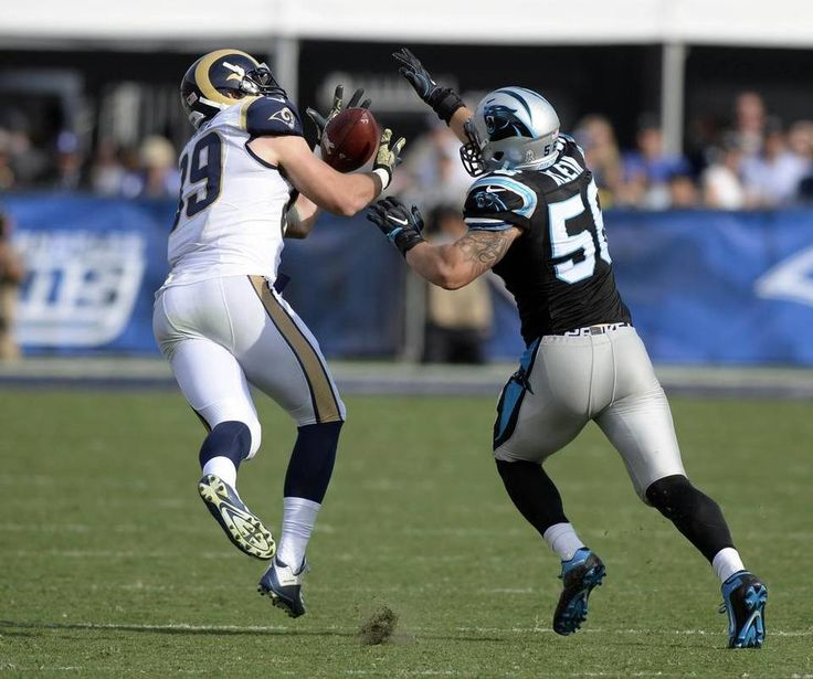 Panthers vs. Rams:  13-10, Panthers  -     Los Angeles Rams tight end Tyler Higbee (89) makes a reception past Carolina Panthers middle linebacker A.J. Klein (56) in the first half at Los Angeles Memorial Coliseum in Los Angeles, CA on Sunday, November 6, 2016. The Panthers won, 13-10.