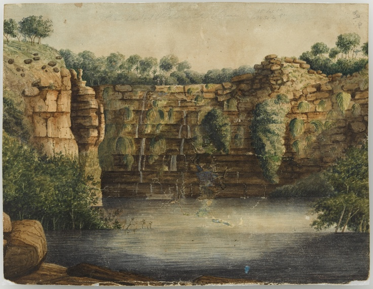 Cascades at Prince Regent's River, Kimberley, 1821, by Phillip Parker King.   Find more information about this image: http://acms.sl.nsw.gov.au/item/itemDetailPaged.aspx?itemID=442570  From the collection of the State Library of New South Wales: www.sl.nsw.gov.au