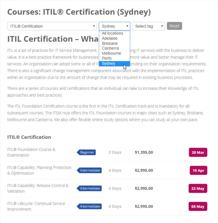 Course Schedule - https://www.theitsmhub.com.au/