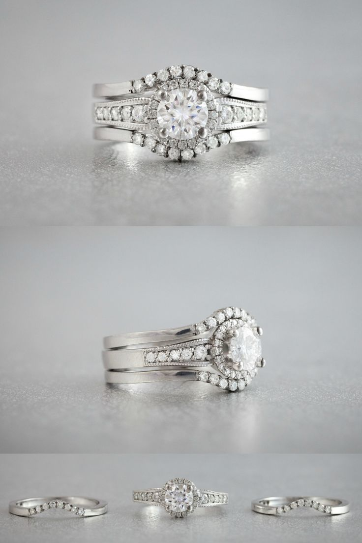 This Stunning Threering Set Wraps The Vintageinspired Engagement Ring  With Delicately Curved