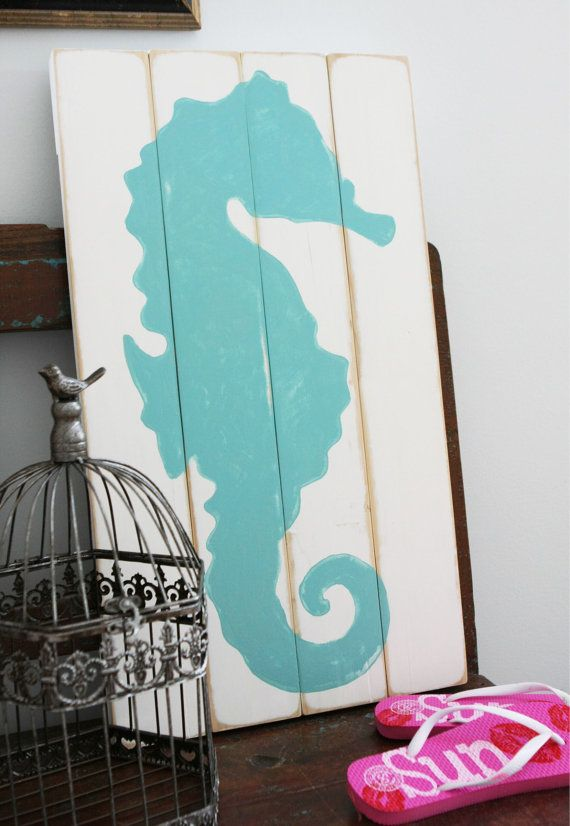 Hey, I found this really awesome Etsy listing at https://www.etsy.com/listing/188003791/aqua-seahorse-painted-on-white-reclaimed