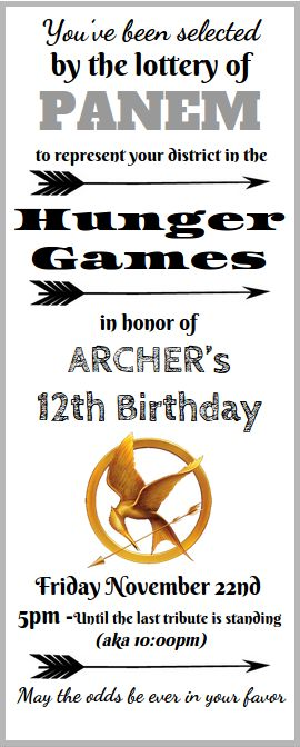 Hunger Games Birthday Invite