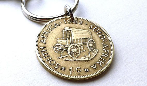 South African keychain Coin keychain 1962 Covered wagon