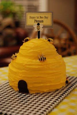 Party hive cake with chocolate covered almond bees