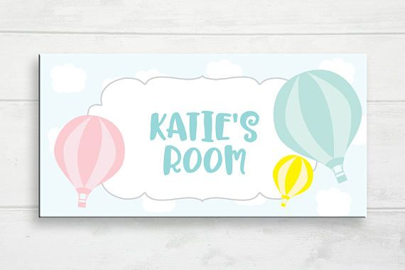 Hot Air Balloon Door Sign Kids Name Sign Balloon Door Sign