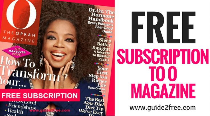 Get aFREE Subscription to O The Oprah Magazine! No bills, no credit cards.Get the latest information and inspiration fromO, TheOprah Magazine, including expert advice, style ideas, health tips, delicious recipes and more! O, The Oprah Magazine gives confident, smart women the tools they need to explore and reach for their dreams, toexpresstheir individual style and to make choices that will lead to a happier and more fulfilling life.