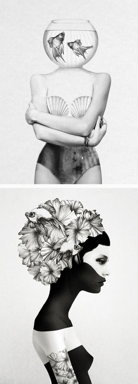 Down and Out Chic: Art: Jenny Liz Rome I like how the artist has used photography mixed with the drawing to make the composition different and interesting