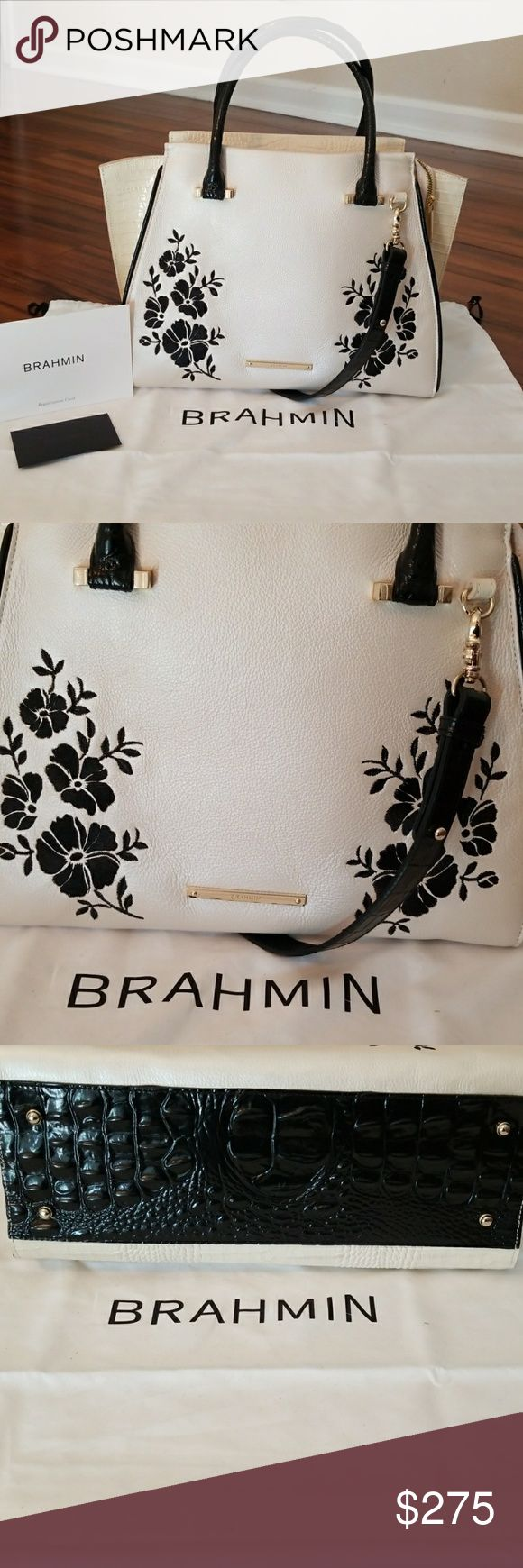 """🖤Priscilla Satchel Ivory Boracy Brahmin, 🖤 This is a Beautiful embroidered flowers tote comes with registration cards and dust bag carried a few times still beautiful. Chic style with geometric edge. Key clip 5.5"""" handle drop 15.5"""" Leather. HAS NO SMOKE SMELLS !!! Brahmin Bags Satchels"""