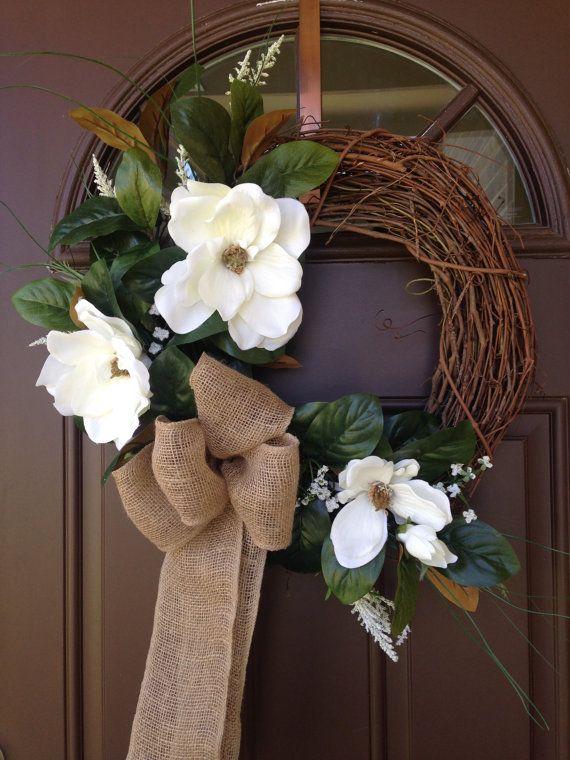Magnolia Wreath  Silk Magnolias  Grapevine Summer by Flowenka                                                                                                                                                      More