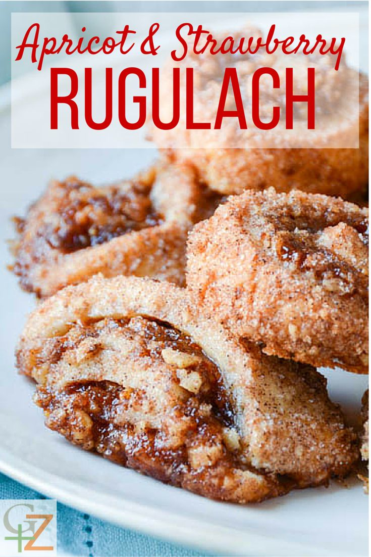 Apricot and strawberry rugelach - a cream cheese pastry filled with jam and coated with a cinnamon pecan crust! So good it must be a sin.