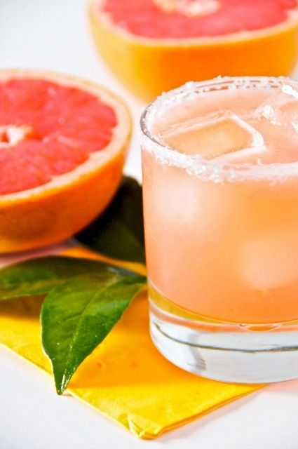 The Salty Chihuahua - one part tequila, two parts freshly squeezed ruby red grapefruits, ice, and salt for the rim.
