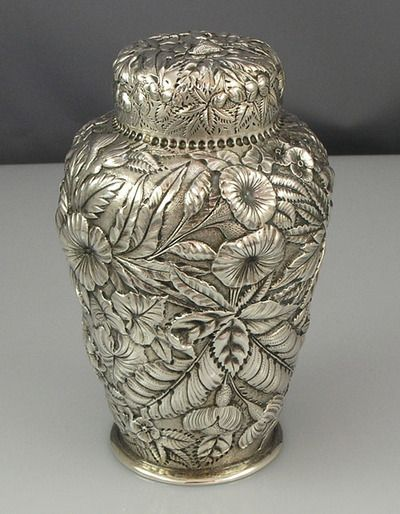 Repousse Antique Silver Tea Caddy