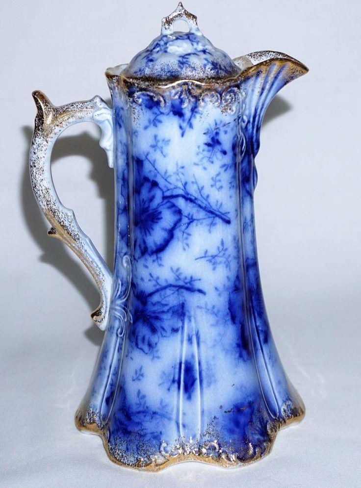 Antique Warwick Flow Blue Chocolate Pot w Flowers & Gold Decoration   Pottery & Glass, Pottery & China, China & Dinnerware   eBay!