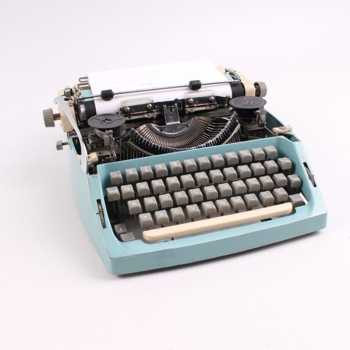 Modrý psací stroj 35 x 35 x 14 cm
