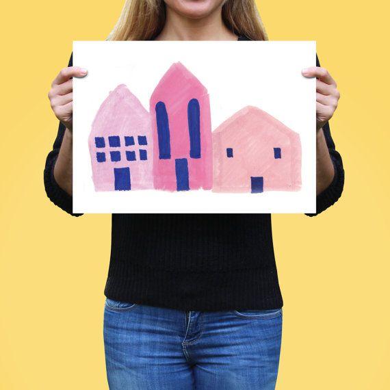 Art Print, Painting of Houses, Scandinavian Style Painting, Fine Art Print, Pink Art Gift, Pink Bedroom Decor, First Home Present, Wall Art