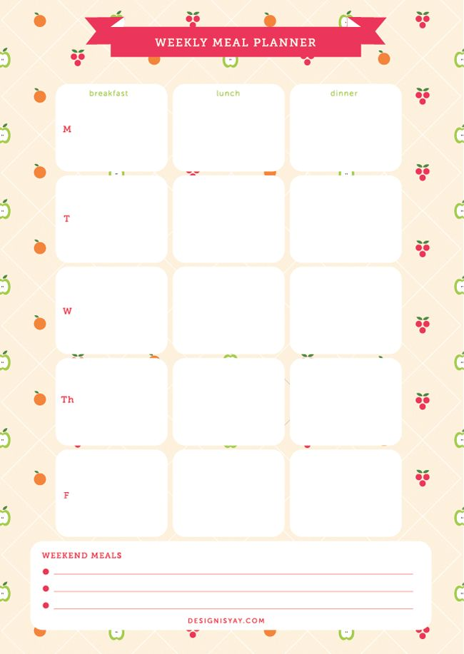 Printable Weekly Meal Planner by Design is Yay!  http://www.designisyay.com/printable-meal-planner/
