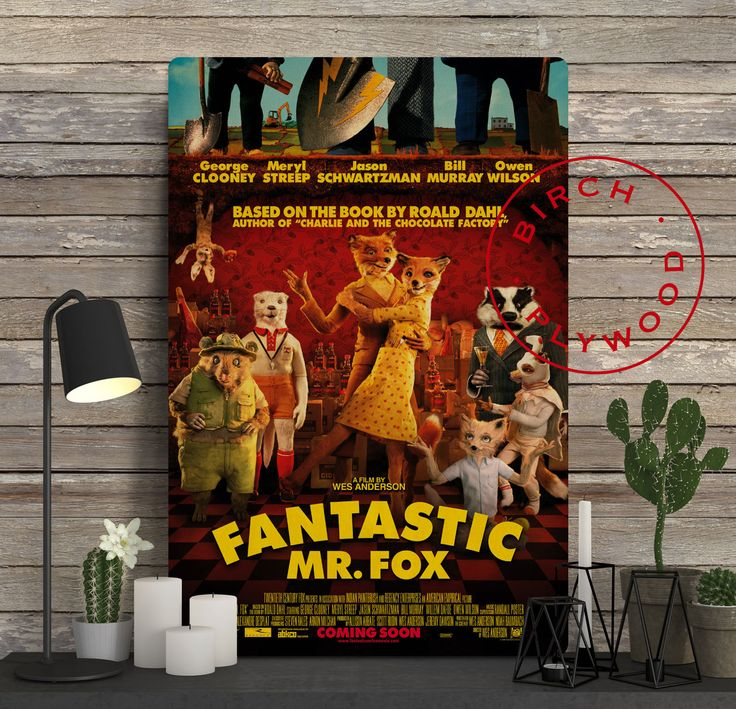 FANTASTIC MR FOX Poster on Wood, George Clooney, Meryl Streep, Bill Murray, Wes Anderson, Movie Poster, Unique Gift, Print on Wood by InHousePrinting on Etsy