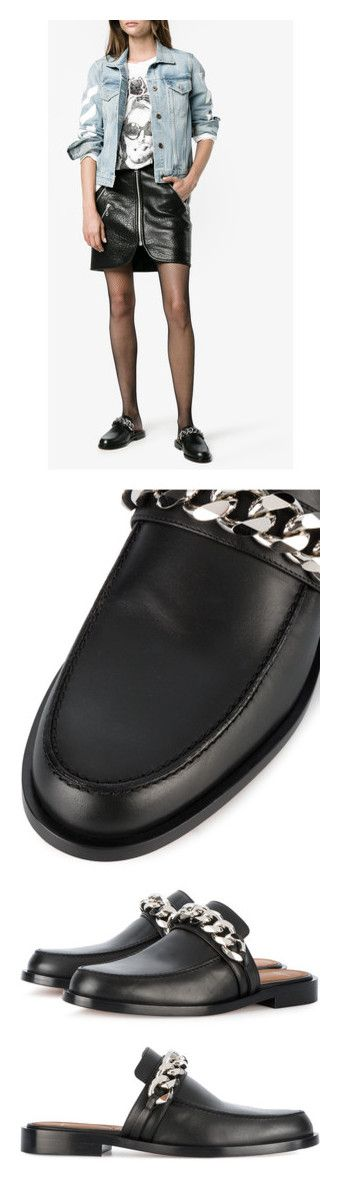 """""""chain flats"""" by jofrebcn ❤ liked on Polyvore featuring shoes, mule shoes, black leather loafers, black shoes, black loafers, black leather mules, low heel shoes, black low heel shoes, leather mule loafers and loafer shoes"""