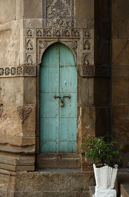 A beautiful door at the Siddi Syed Mosque, Ahmedabad.