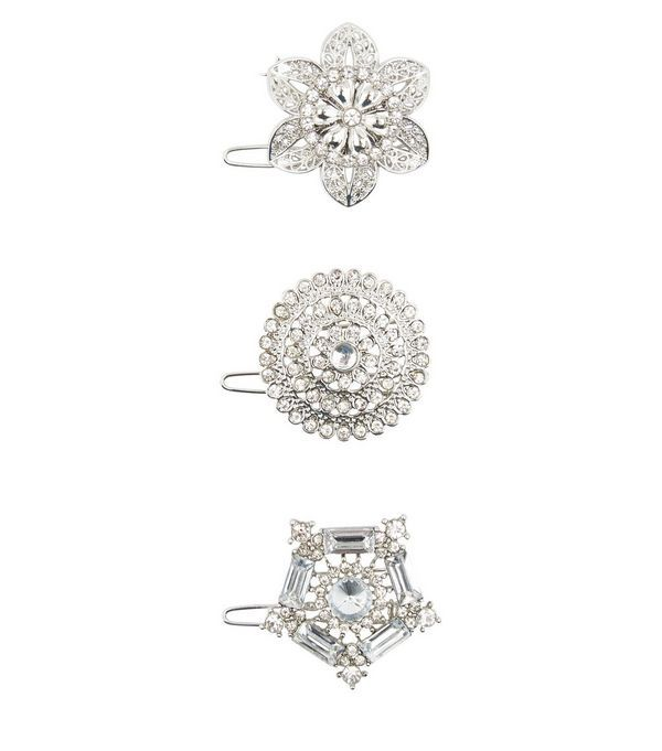 3 Pack Crystal Flower Hair Brooches   New Look