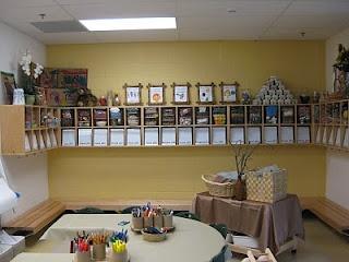 reggio-inspired kindergarten classroom cubby area! lovely!
