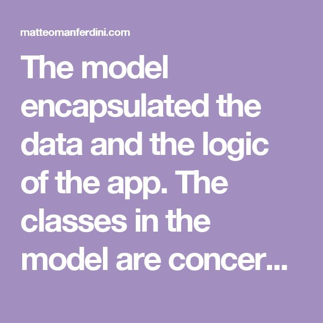 The model encapsulated the data and the logic of the app. The classes in the model are concerned about the representation and storage of the data and the operations on. They are not concerned about the representation of such data, nor they are about interface of the app. The view layer is responsible to present and format the data for the user. It allows interaction, to enable the user to manipulate and edit the data. Views tend to be reusable. In iOS you can find many standard views like…