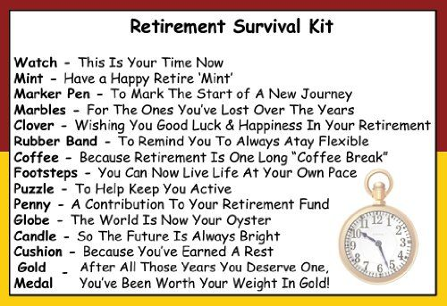 Retirement Survival Kit In A Can. Humorous Novelty Fun Gift - Friend/Work Colleague/Boss Retirement Present & Card All In One. Customise Your Can Colour. (Red/Yellow)